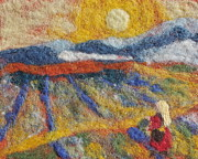 Felted Tapestries - Textiles Prints - Hommage to Van Gogh Print by Nicole Besack