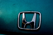 Transportation Photo Framed Prints - Honda Civic Hood Badge - IMG4514 Framed Print by Wingsdomain Art and Photography