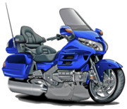 Motorcycle Posters - Honda Goldwing Blue Bike Poster by Maddmax