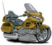 Goldwing Framed Prints - Honda Goldwing Gold Bike Framed Print by Maddmax
