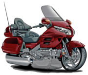 Goldwing Framed Prints - Honda Goldwing Maroon Bike Framed Print by Maddmax