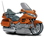 Goldwing Framed Prints - Honda Goldwing Orange Bike Framed Print by Maddmax
