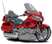 Goldwing Framed Prints - Honda Goldwing Red Bike Framed Print by Maddmax