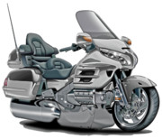 Goldwing Digital Art - Honda Goldwing Silver Bike by Maddmax