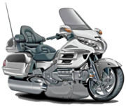 Goldwing Digital Art - Honda Goldwing White Bike by Maddmax