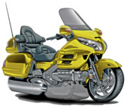 Goldwing Framed Prints - Honda Goldwing Yellow Bike Framed Print by Maddmax