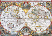 Period Posters - Hondius World Map, 1630 Poster by Photo Researchers