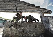 Honduran Army Soldiers Perform Building Print by Stocktrek Images