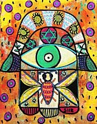 Invitations Paintings - Honey Bee Hamsa by Sandra Silberzweig