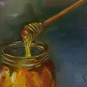 Kristine Kainer Paintings - Honey with Dipper by Kristine Kainer