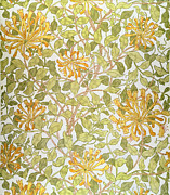 Green Movement Paintings - Honeysuckle design by William Morris