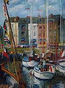 Vibrant Pastels Originals - Honfleur Harbor by Beth Brooks
