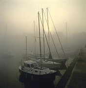 Normandy Prints - Honfleur Harbour in fog. Calvados. Normandy Print by Bernard Jaubert