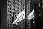 Flags Flying Prints - Hong Kong And Chinese Flags Flying Against Office Building Downtown Hksar China Asia Print by Joe Fox
