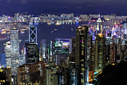 Illuminated Framed Prints - Hong Kong At Night Framed Print by Leung Cho Pan