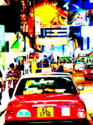 Abstract Photo Posters - Hong Kong cabs Poster by Funkpix Photo  Hunter