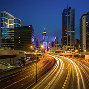 Life Speed Prints - Hong Kong City Center At Night Print by Coolbiere Photograph