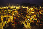 Etc. Photo Framed Prints - Hong Kong Container Terminal, One Framed Print by Justin Guariglia
