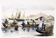 Boatman Framed Prints - Hong Kong: Harbor, 1857 Framed Print by Granger