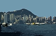 Wolkenkratzer Framed Prints - Hong Kong Island ... Framed Print by Juergen Weiss