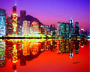 Hong Kong Art - Hong Kong Lit Up by Anthony Caruso