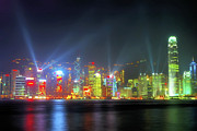 Tsim Sha Tsui Prints - Hong Kong Night Lights Print by Bibhash Chaudhuri