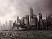 Black And White Photography Digital Art Metal Prints - Hong Kong rain 5 Metal Print by Tom Prendergast