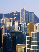 Office Space Prints - Hong Kong Skyline Looking Towards Victoria Peak Print by Jeremy Woodhouse