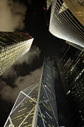 Financial District Posters - Hong Kong skyscrapers at night Poster by Sami Sarkis