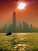 Tst Photo Framed Prints - Hong Kong Sunset Framed Print by Bibhash Chaudhuri