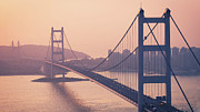 Hong Kong Tapestries Textiles - Hong Kong Tsing Ma Bridge At Sunset by Yiu Yu Hoi