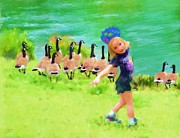 Canadian Geese Mixed Media - Honker Ballet Princess by Cindy Wright