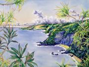 Lush Green Painting Posters - Honomanu Bay Poster by Mary Lucas Faustine - Printscapes