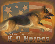 Canines Painting Framed Prints - Honor Our K-9 Heroes Framed Print by Laurie Cook
