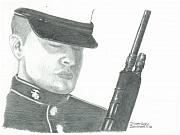 Marines Drawings Prints - Honoring the Corps Semper Fi Print by Sharon Blanchard