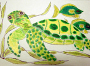Sealife Mixed Media - Honu - The Green Sea Turtle by Daniel Goodwin
