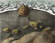 Ocean Turtle Paintings - Honu Beach by Kirsten Carlson