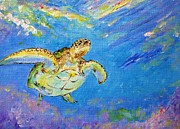 Kauai Artist Paintings - Honu blues by Tamara Tavernier