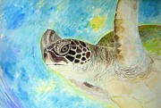 Kauai Artist Paintings - Honu swimming by Tamara Tavernier
