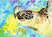 Athletes Painting Originals - Honu watching me by Tamara Tavernier