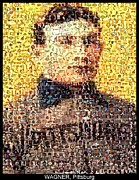Rookie Card Posters - Honus Wagner Mosaic Poster by Paul Van Scott