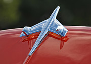 Antique Automobiles Photos - Hood Ornament on Orange Hood by Brian Mollenkopf