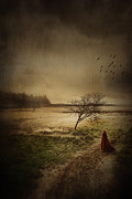 Forboding Prints - Hooded figure walking in bleak landscape Print by Sandra Cunningham