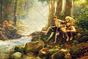 Fly Fisherman Paintings - Hook Line and Summer by Greg Olsen