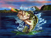 Largemouth Bass Drawings - Hooked by Kathleen Kelly Thompson