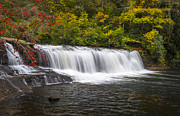 Fall Foliage Photos - Hooker Falls in Autumn - Dupont State Forest NC by Dave Allen