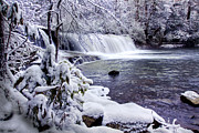 Snow Prints Prints - Hooker Falls in Winter Print by Rob Travis