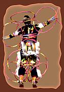 American Indian Digital Art Framed Prints - Hoop Dancer 2 Framed Print by Linda  Parker