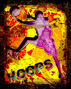 Slam Dunk Posters - Hoops Basketball Player Abstract Poster by David G Paul