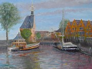 Marketplace Painting Framed Prints - Hoorn Harbour Framed Print by Pib